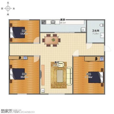 世纪一品3室1厅1卫1厨135.00㎡户型图