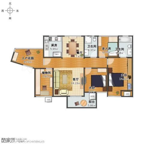 龙湾3室2厅1卫2厨100.00㎡户型图