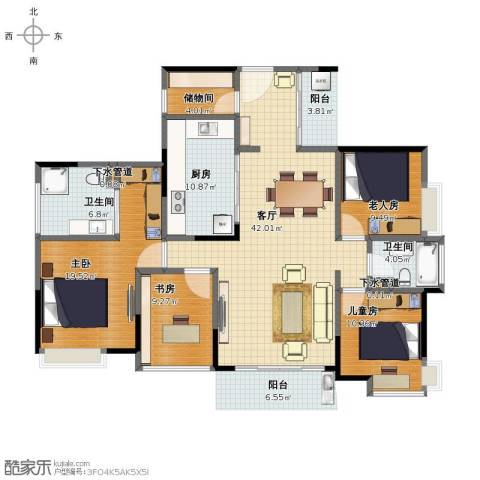 松湖春天4室1厅1卫2厨146.00㎡户型图