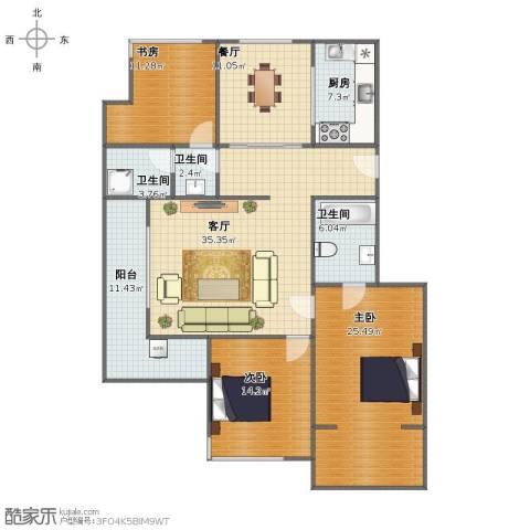 君悦・东湖公馆3室2厅1卫3厨140.00㎡户型图