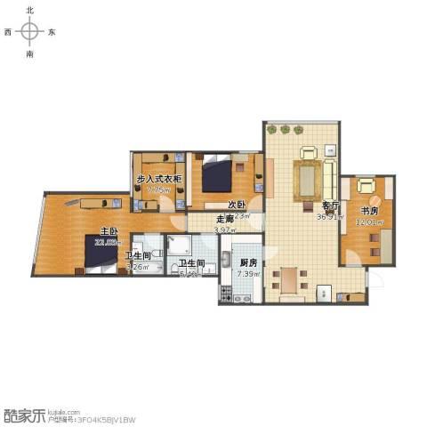 明日家园3室1厅1卫2厨121.00㎡户型图