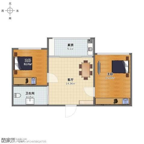 鸿博御园2室1厅1卫1厨49.00㎡户型图