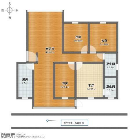 东岭桂园3室1厅1卫2厨134.00㎡户型图