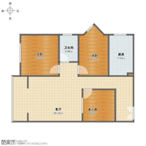 雪芳园3室1厅1卫1厨87.00㎡户型图