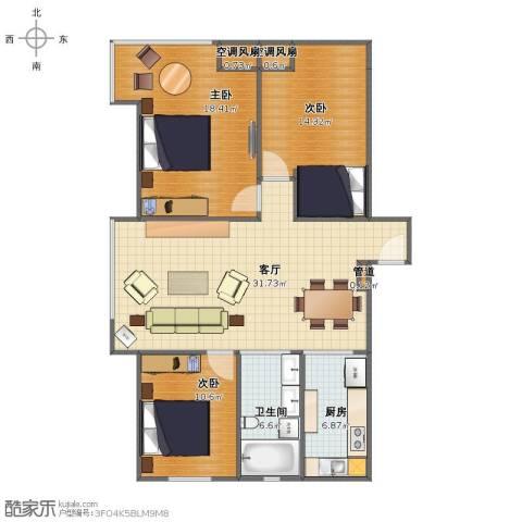 环宇金域蓝山3室1厅1卫1厨99.00㎡户型图