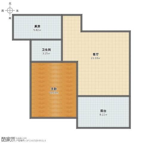 和园1室1厅1卫1厨57.00㎡户型图