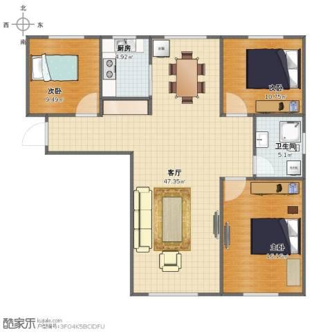 恒盛豪庭3室1厅1卫1厨102.00㎡户型图