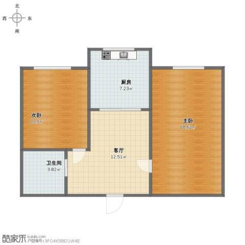 职高小区2室1厅1卫1厨59.00㎡户型图