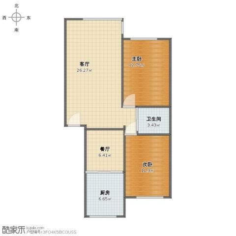 湖岸丽景2室2厅1卫1厨74.00㎡户型图