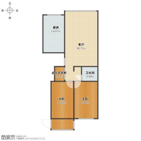 东升江畔2室1厅1卫1厨100.00㎡户型图