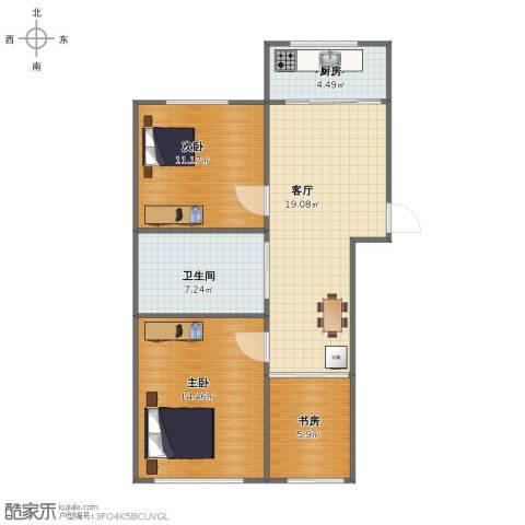 鸿博御园3室1厅1卫1厨69.00㎡户型图