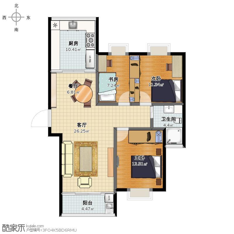 现代名苑120方三房两厅一卫