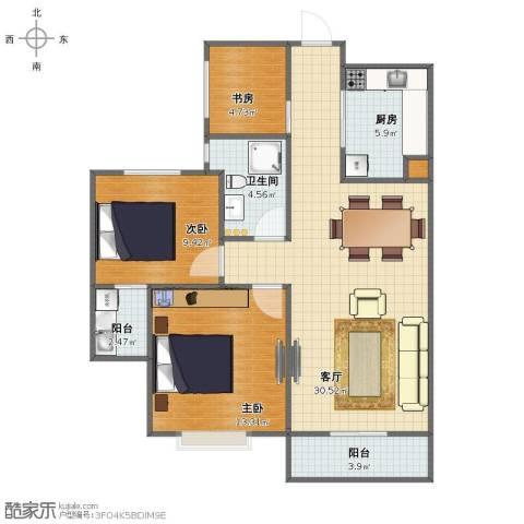 滨江一号3室1厅1卫1厨84.00㎡户型图