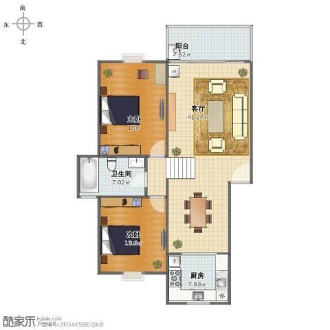 春江花园2室1厅1卫1厨103.00㎡户型图