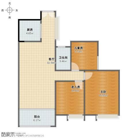 荣盛・南亚郦都3室1厅1卫1厨89.00㎡户型图