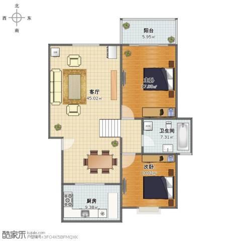 春江花园2室1厅1卫1厨107.00㎡户型图