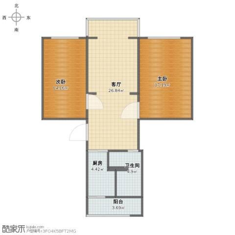 海洋石油天野小区2室1厅1卫1厨79.00㎡户型图