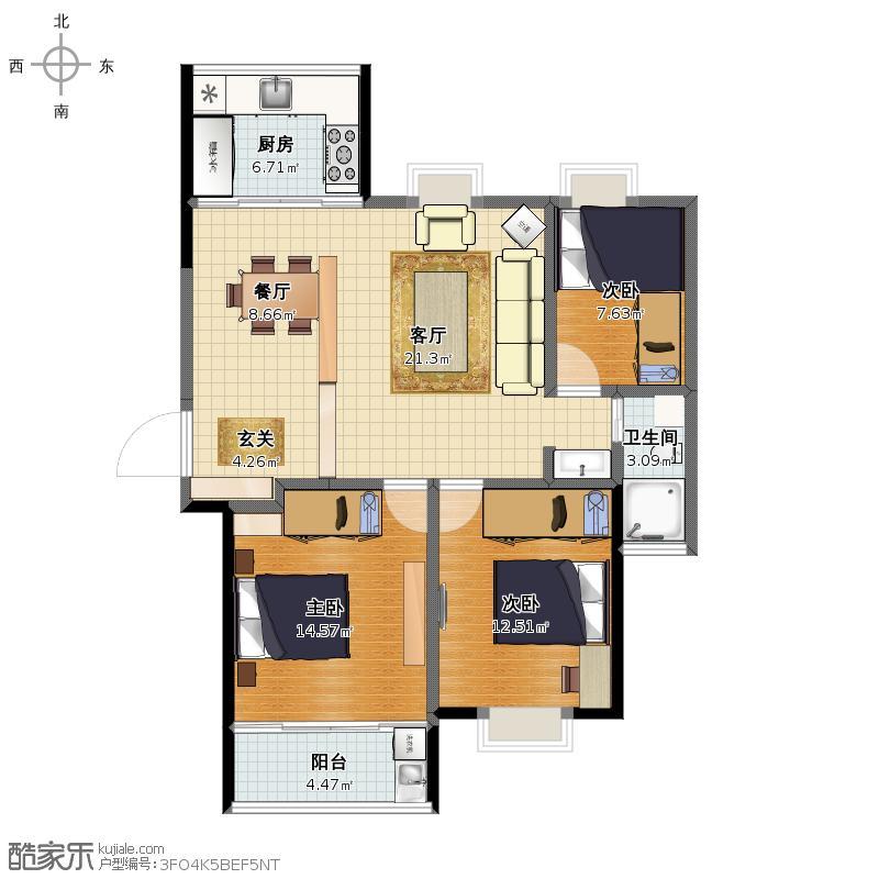 修改的方案_现代名苑120方三房两厅一卫