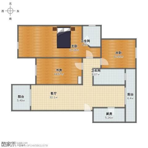 德政金园爱丽舍3室1厅1卫2厨125.00㎡户型图