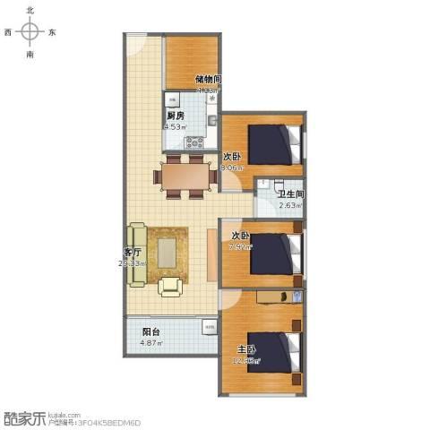 唯美嘉园3室1厅1卫1厨82.00㎡户型图