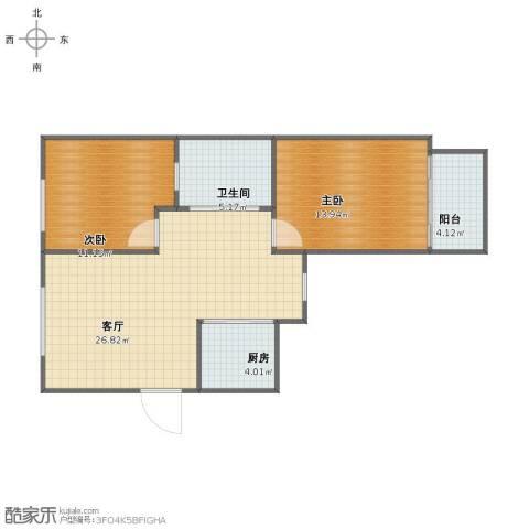 阳光绿岛2室1厅1卫1厨72.00㎡户型图