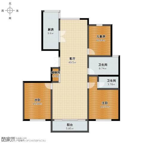 金色港湾公寓3室1厅1卫2厨141.00㎡户型图