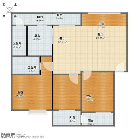 愉翠雅园3室2厅1卫2厨114.00㎡户型图