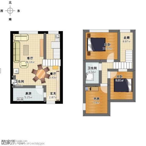 兰花丽景3室2厅1卫2厨104.00㎡户型图