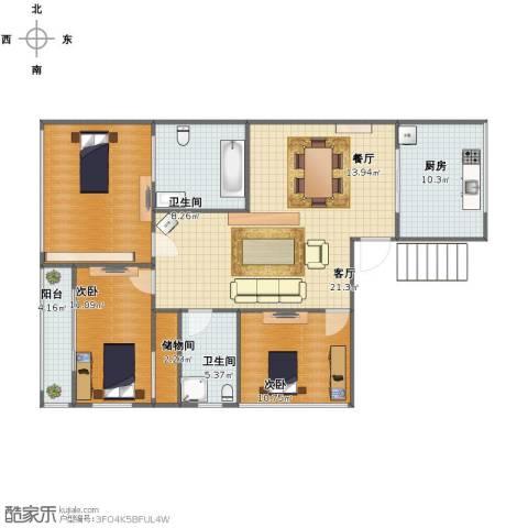 东方国际复合社区2室2厅1卫2厨114.00㎡户型图