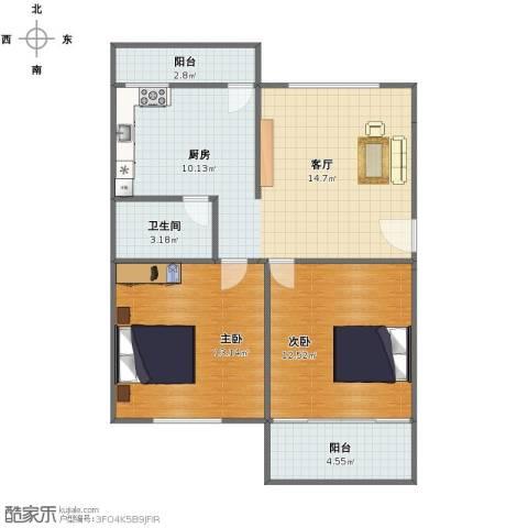 美仁新村2室1厅1卫1厨68.00㎡户型图