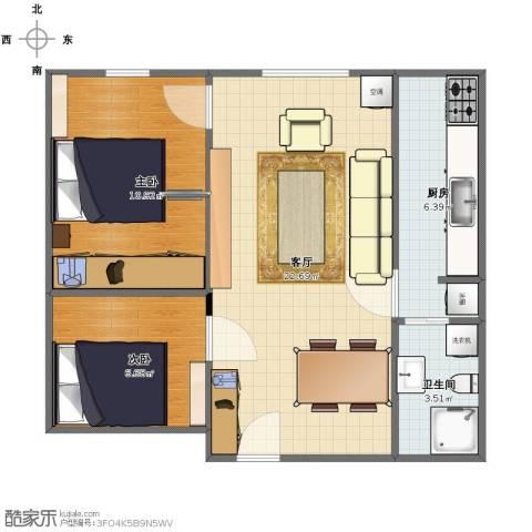上庄馨瑞嘉园2室1厅1卫1厨56.00㎡户型图