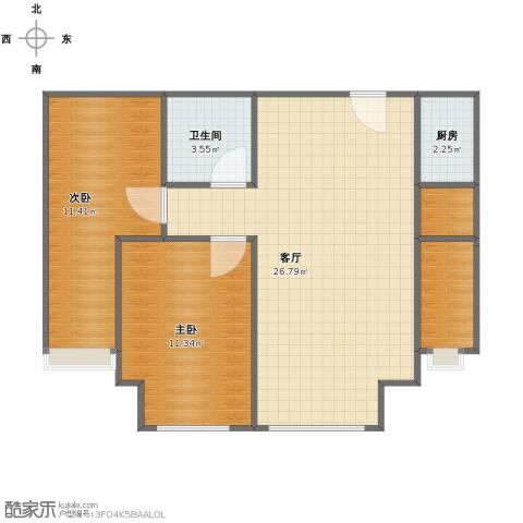 上上城第三季2室1厅1卫1厨66.00㎡户型图