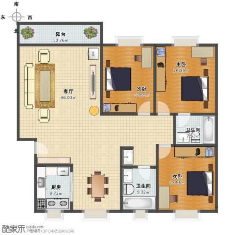 华林绿洲花园3室1厅1卫2厨229.00㎡户型图