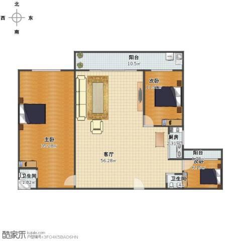 聚祥广场3室1厅1卫2厨138.04㎡户型图