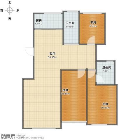雅居园3室1厅1卫2厨117.00㎡户型图