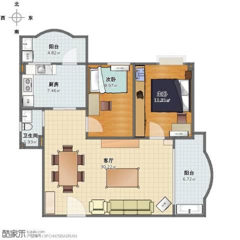 东怡花园2室1厅1卫1厨79.00㎡户型图