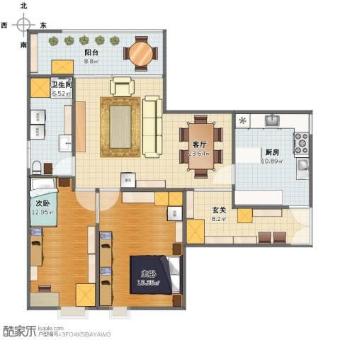 山水文园五期2室1厅1卫1厨95.00㎡户型图