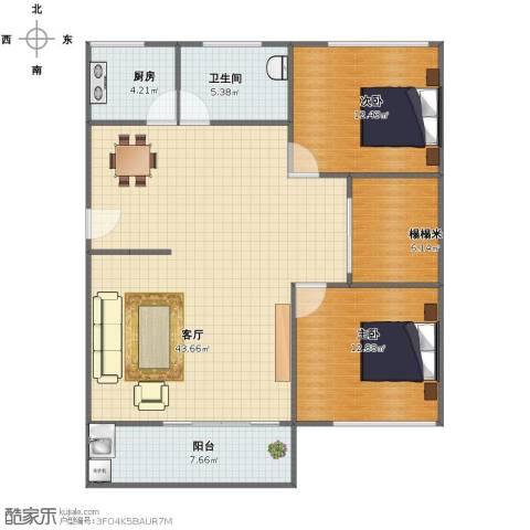 自然家园2室1厅1卫1厨101.00㎡户型图