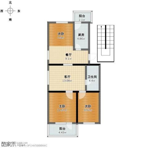 郁花园一里3室2厅1卫1厨80.00㎡户型图