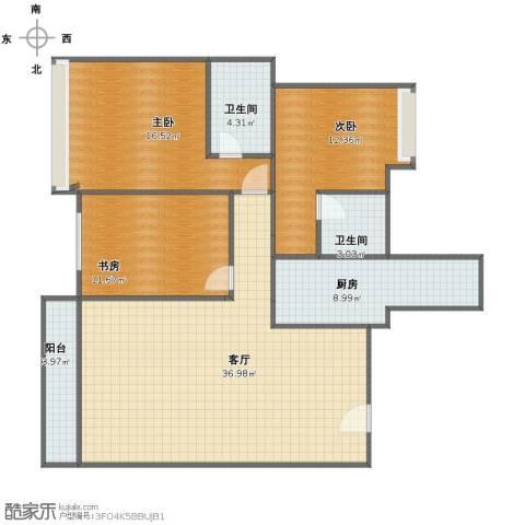 海怡居3室1厅1卫2厨108.00㎡户型图