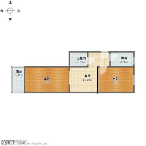 四平园2室1厅1卫1厨51.00㎡户型图