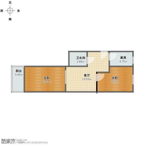 四平园2室1厅1卫1厨51.45㎡户型图