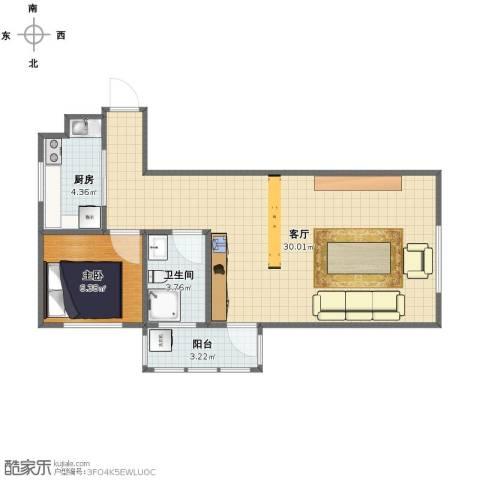 银寰花园1室1厅1卫1厨54.00㎡户型图