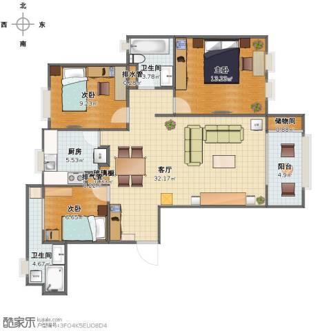 远洋香奈3室1厅1卫2厨90.00㎡户型图
