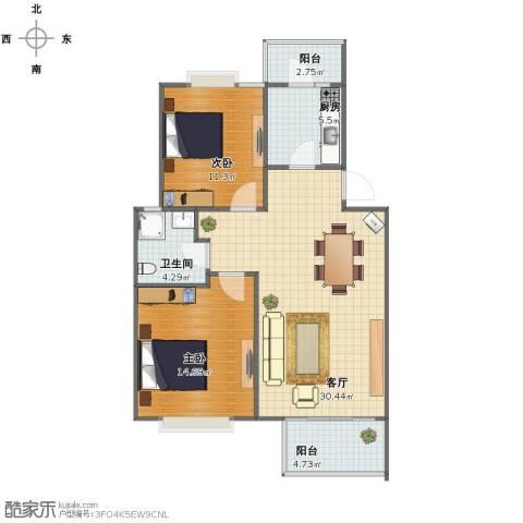 荣和怡景园2室1厅1卫1厨82.00㎡户型图