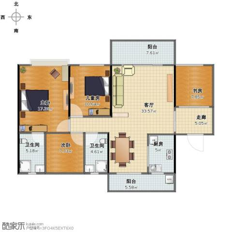 中源明珠4室1厅1卫2厨122.00㎡户型图