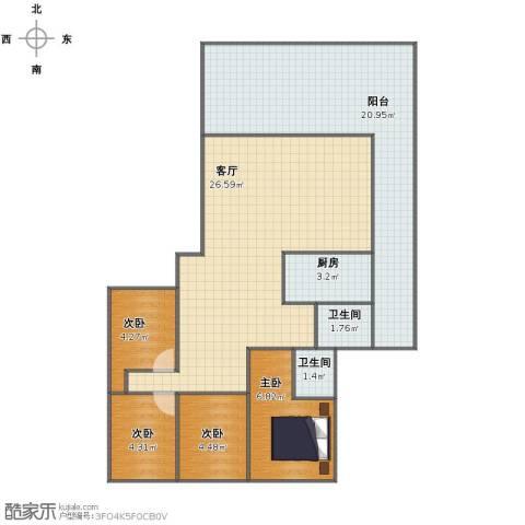 国贸花园4室1厅1卫2厨80.00㎡户型图