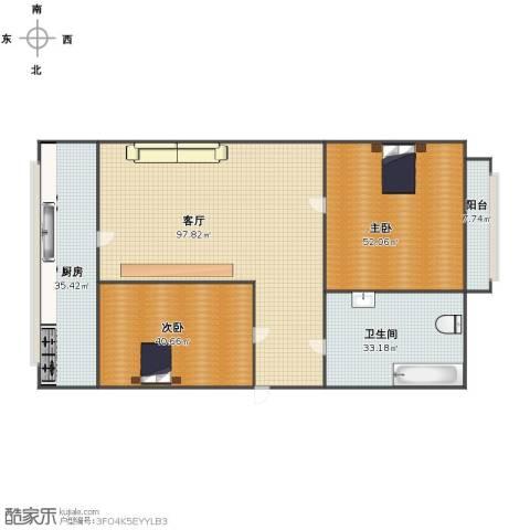 鲲鹏小区2室1厅1卫1厨282.00㎡户型图