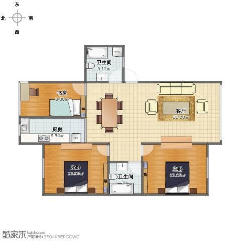 东城华园3室1厅1卫2厨94.00㎡户型图