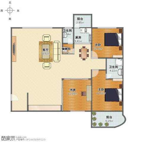 繁荣广场3室1厅1卫2厨141.00㎡户型图